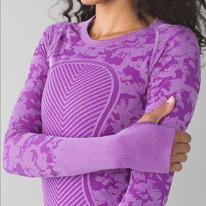 Patterned Purple Lululemon Long Sleeve Crew Neck
